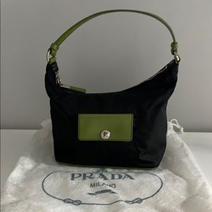 Brand New Prada Olive Green & Black Nylon Tote